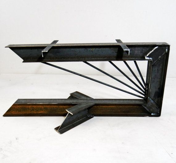Industrial Unique Metal Designer Coffee Table: Cantilevered Steel I-Beam Table Legs. Industrial Modern