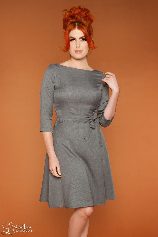 Pretty cotton a-line dress with 3/4 sleeves in silver | Pinup Girl Clothing