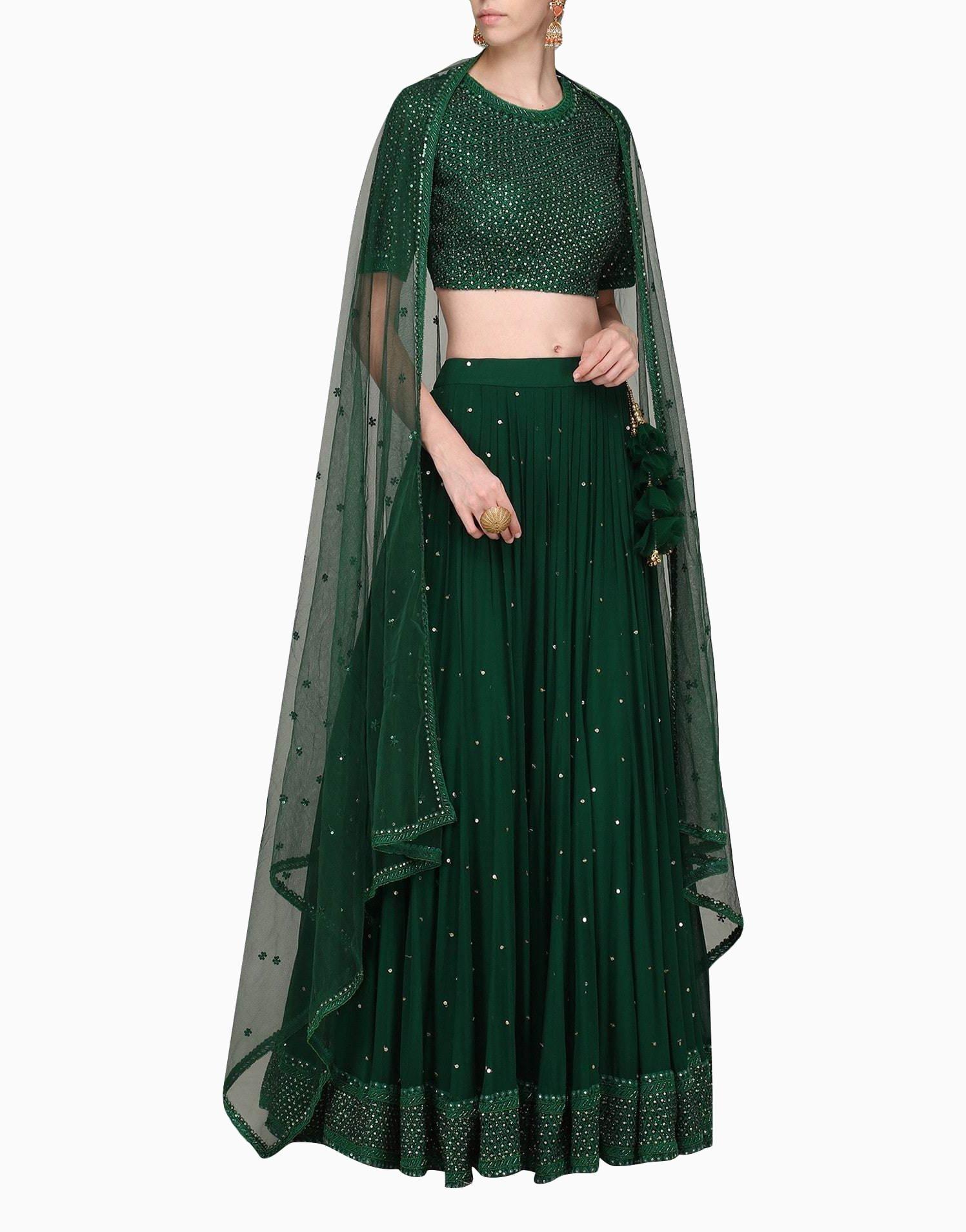a8686618b6 Dark Green Lehenga Set With Dupatta in 2019   Products   Green ...