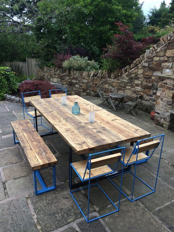 Outdoor Reclaimed Industrial Chic 8 10 Seater Dining Table Bar