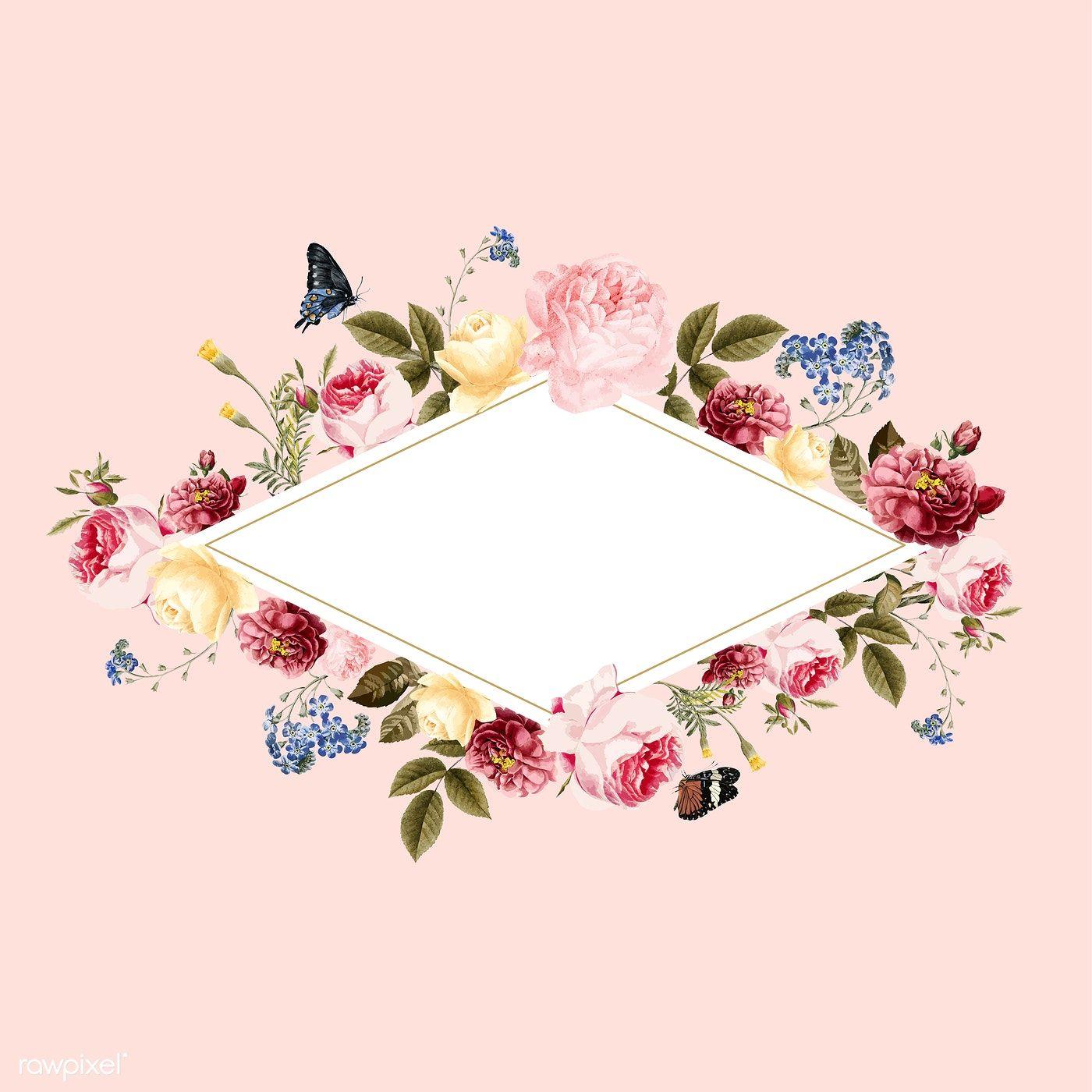 Blank Floral Frame Card Illustration Free Image By Rawpixel Com Card Illustration Frame Card Floral Cards