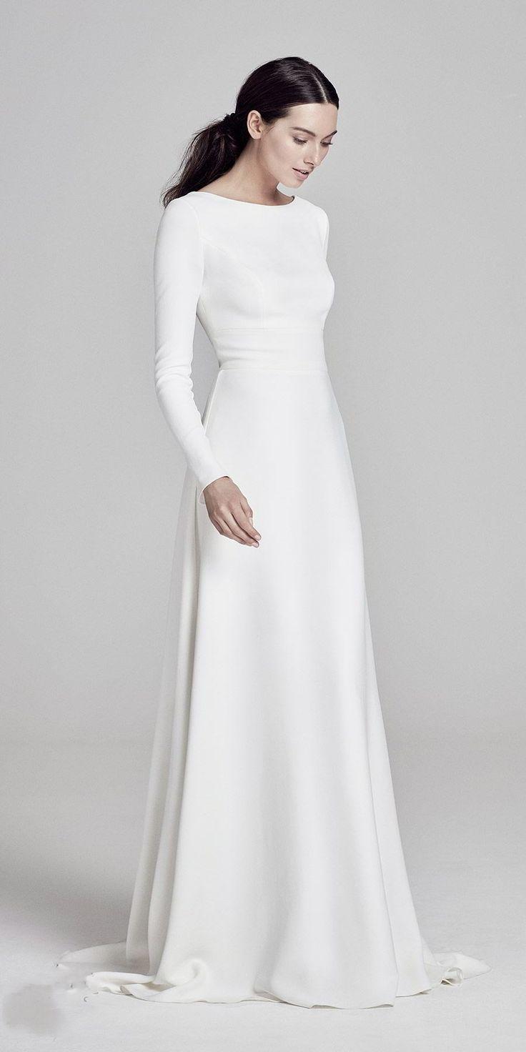 Photo of Simple elegant satin floor-length wedding dress, round neck …