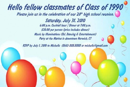 Class Reunion Invitation Templates Free Class Reunion Invitations