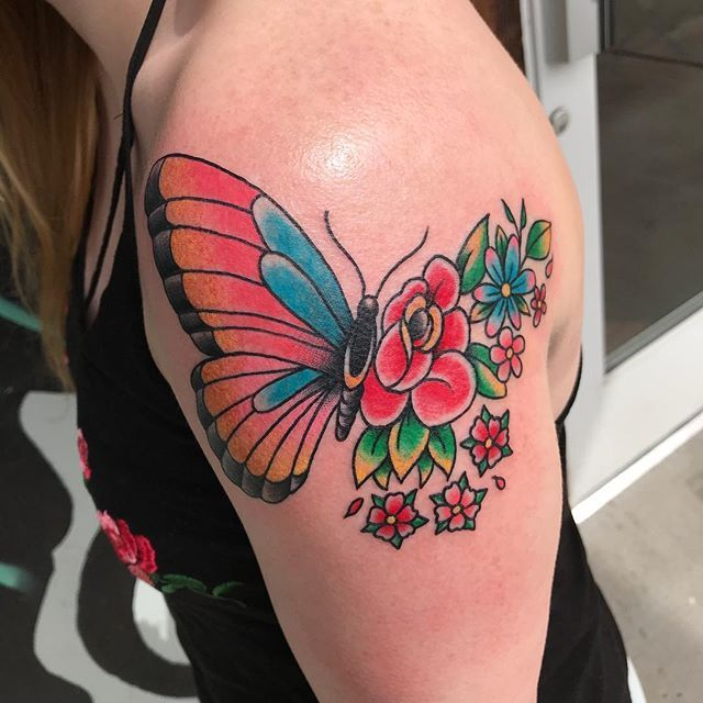 I love pale skin and bright colors ️ #butterflytattoo # ...