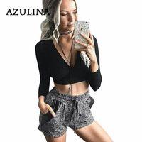 64d958360802a AZULINA Autumn 2016 Sexy Women Lace Up Bandage Crop Top Black Deep V Neck T  shirt
