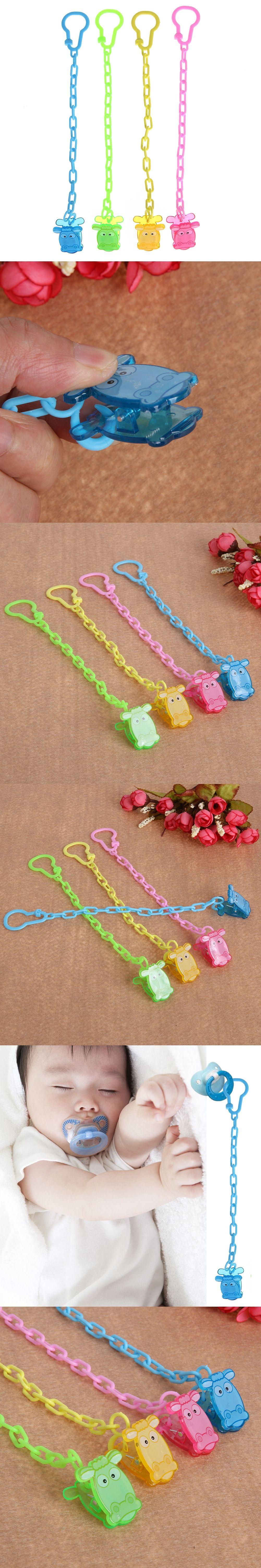Baby Nipple Chain Anti Drop Pacifier Holder Clip Colorful Cartoon Newborn Wooden