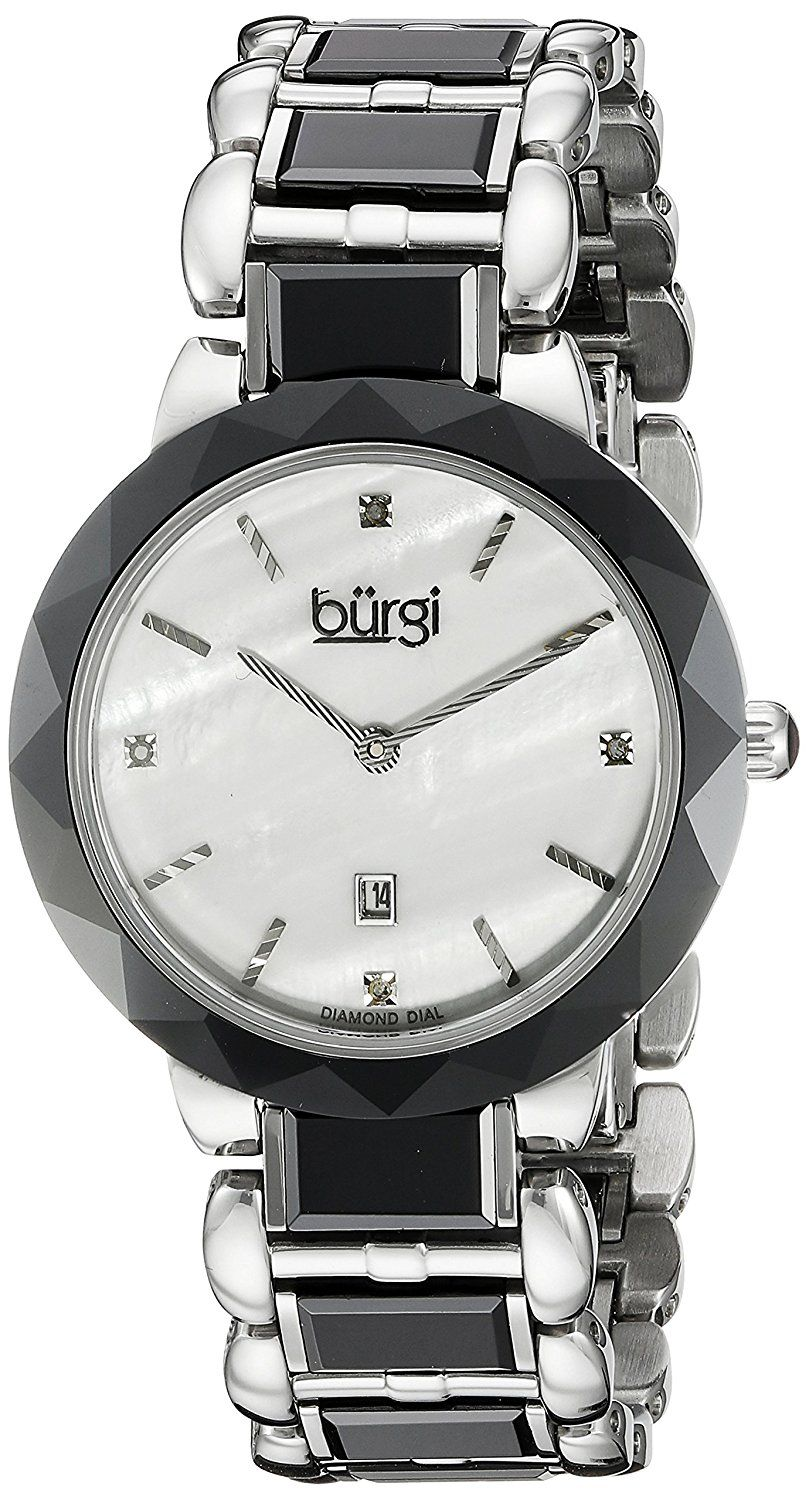 Burgi Women's BUR147BK Silver and Black Quartz Watch With Diamond Mother of Pearl Dial And Black and Silver Ceramic Bracelet >>> See this great image