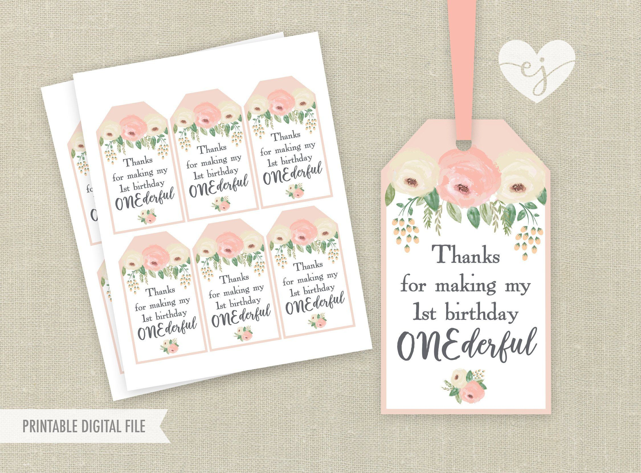 Onederful Favor Tags Printable Favor Tags Onederful Birthday Etsy In 2021 First Birthday Favors Birthday Favors First Birthday Party Favor