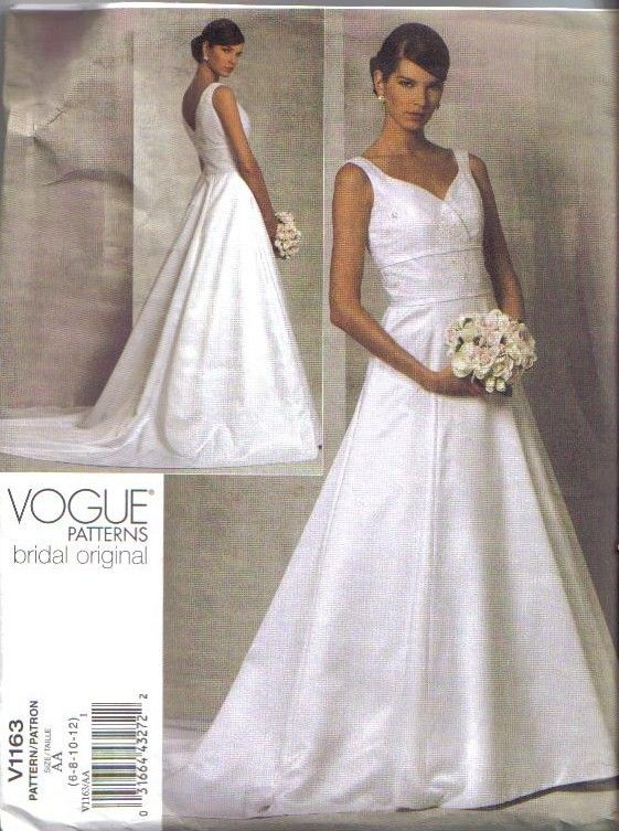 OOP Bridal Original Vogue Sewing Pattern Wedding Gown Floor Length ...