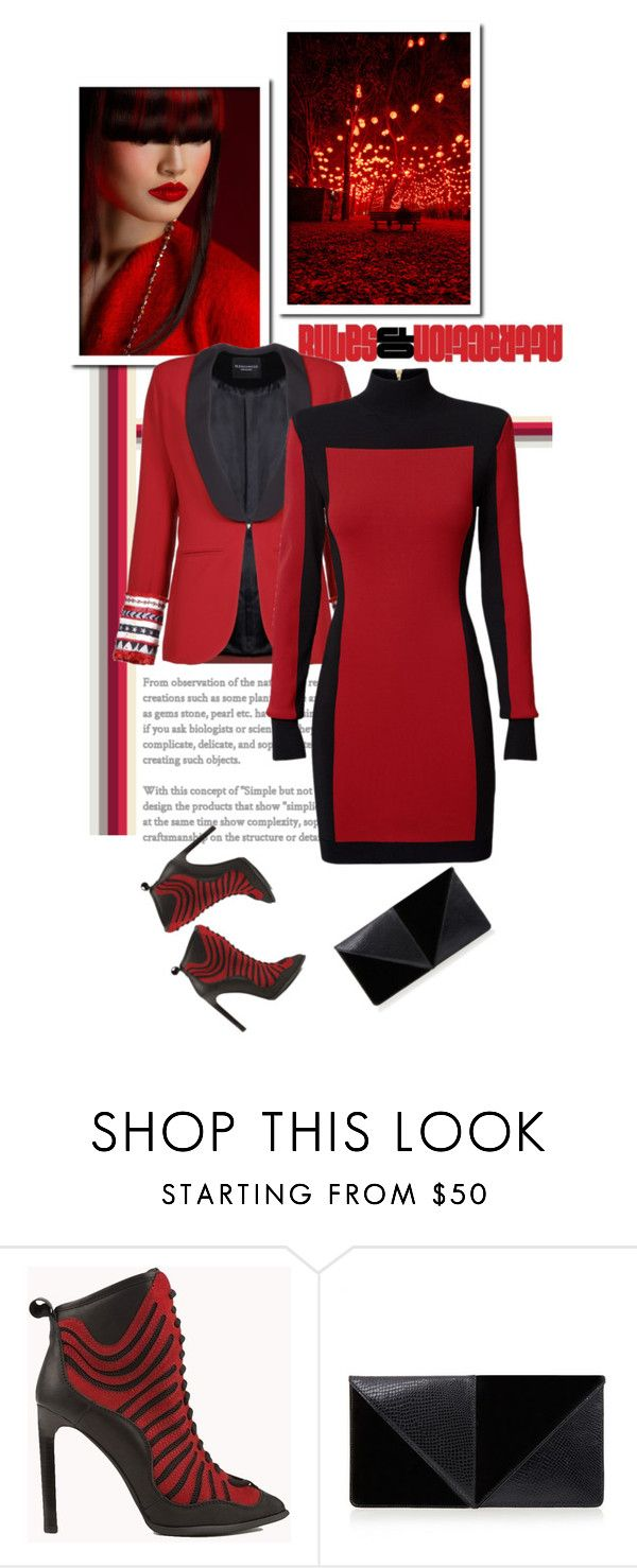 """Red Outfit!"" by anitadz ❤ liked on Polyvore featuring Balmain, Jeffrey Campbell and UN United Nude"