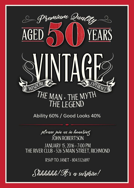 50th Birthday Invitation For Men JPEG By JustArtinAround On Etsy 65th Party