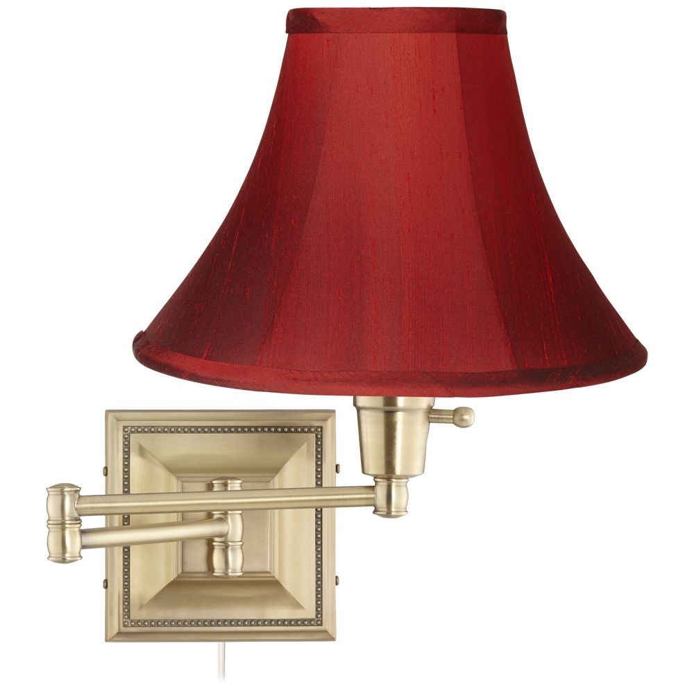 Brass With Red Dupioni Silk Shade Plug In Swing Arm Wall Lamp Style 17f88 Swing Arm Wall Lamps Wall Lamp Silk Shades