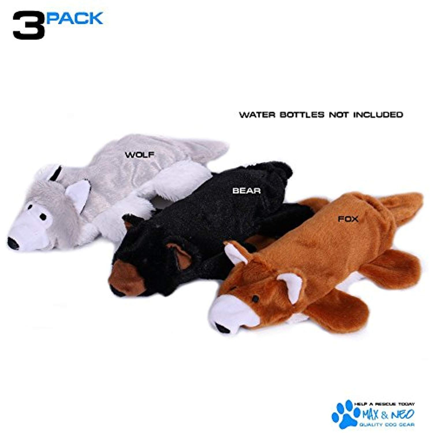 Max And Neo Fox Bear And Wolf Water Bottle Dog Toys 3 Pack We