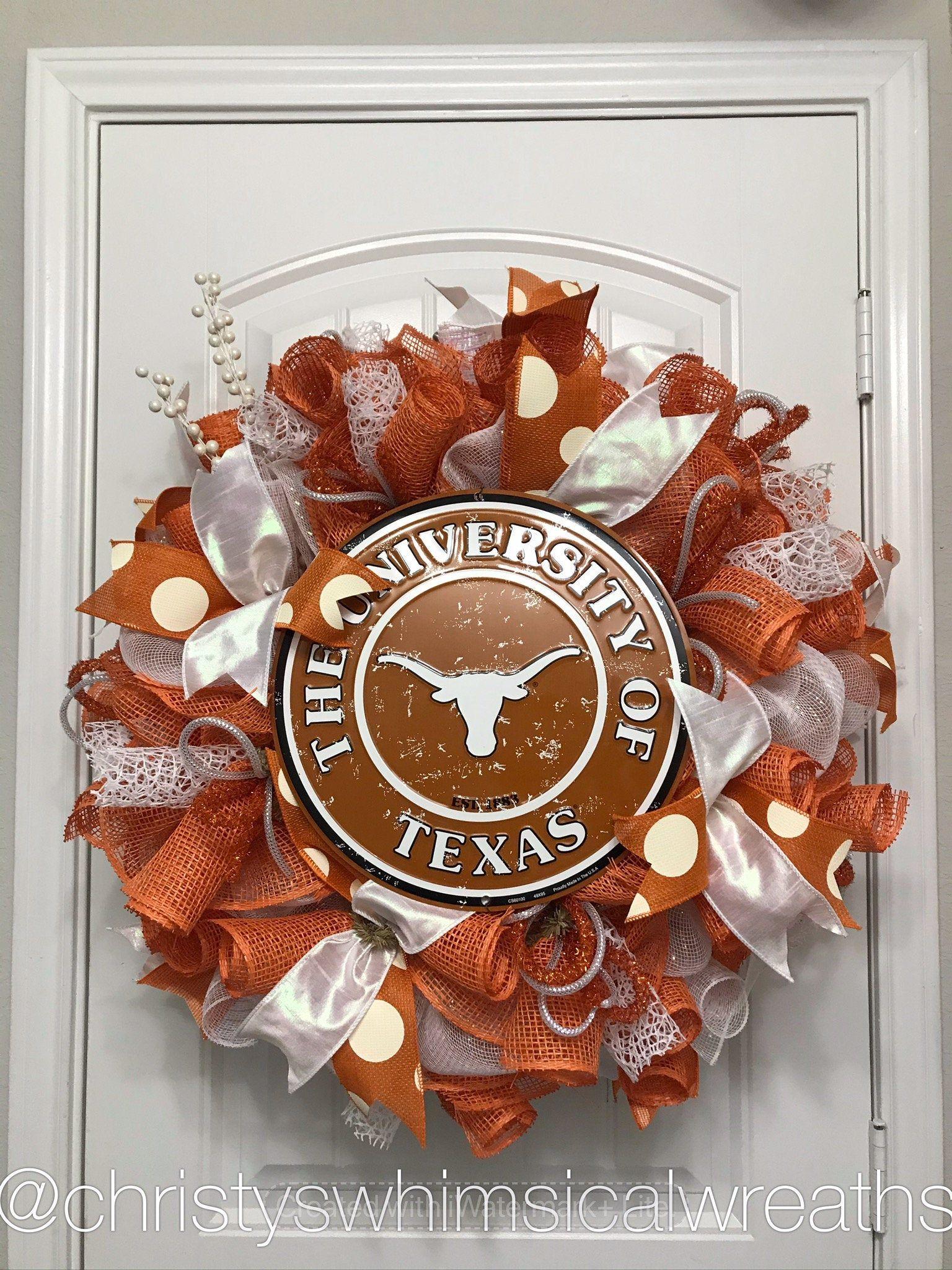 University Of Texas Wreath Longhorn Wreath College Wreath Etsy In 2020 Whimsical Wreaths Sports Wreaths Orange Wreath