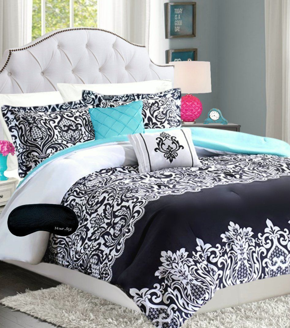 Teen Girls Bedding Damask Comforter Black White Teal Aqua Full Queen Super Set