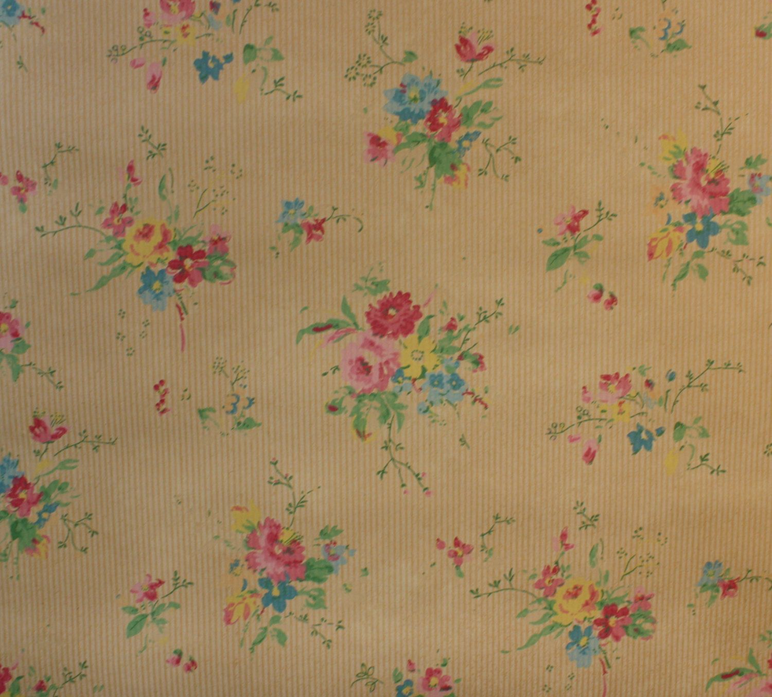 1930s Vintage Wallpaper Tiny Pink Roses And Little Blue Flowers