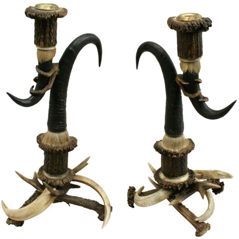 Antique Black Forrest Antler Candlesticks