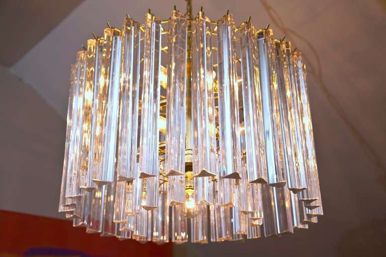 1970 S Crystal And Lucite Drum Chandelier