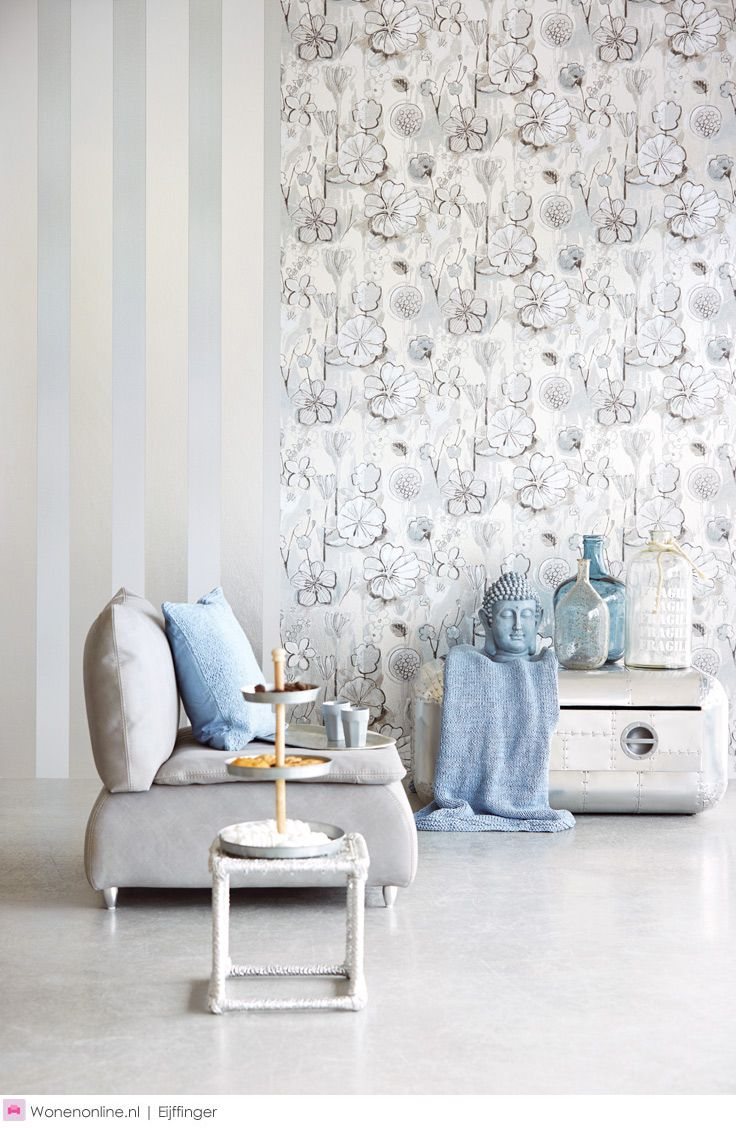 Silver and pale blue - #eijffinger #behang collectie #bloom #wallcoverings #wonen #interieur #interior