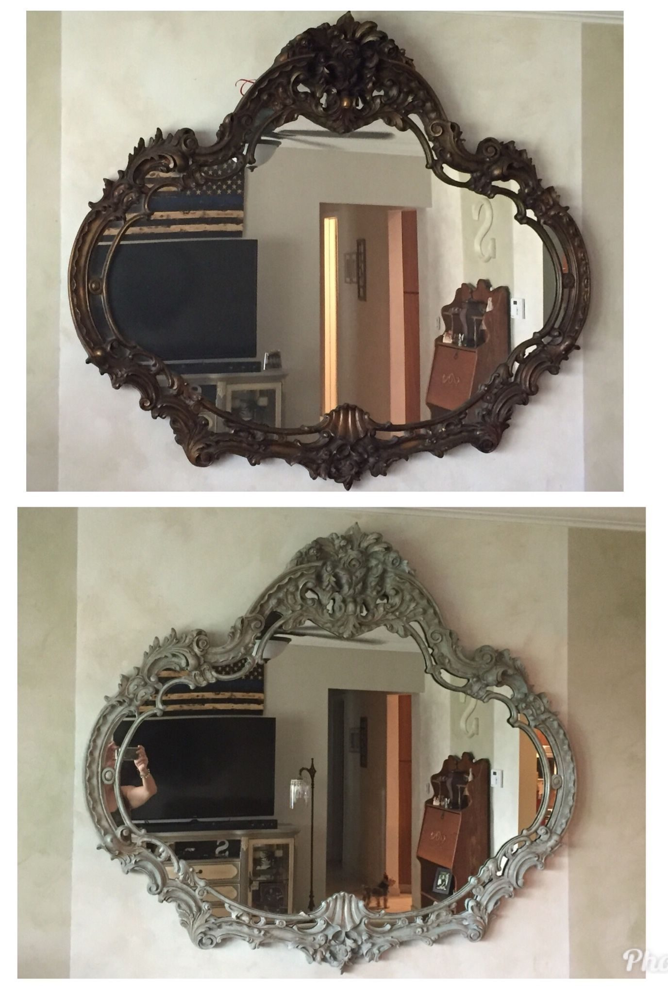 Chalk Painted Mirror From Dark Wood To Distressed Finished With Paris Grey Mirror Painting Chalk Paint Mirror Mirror