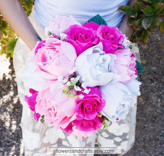 Handmade crepe paper flower bouquet paper flowers Spring bridal bouquet wedding bouquet decoration bridesmaid bouquet Summer