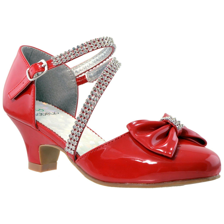 Girls Bow Accent Kitten Heel Pumps Red | Kitten heels, Kids dress ...