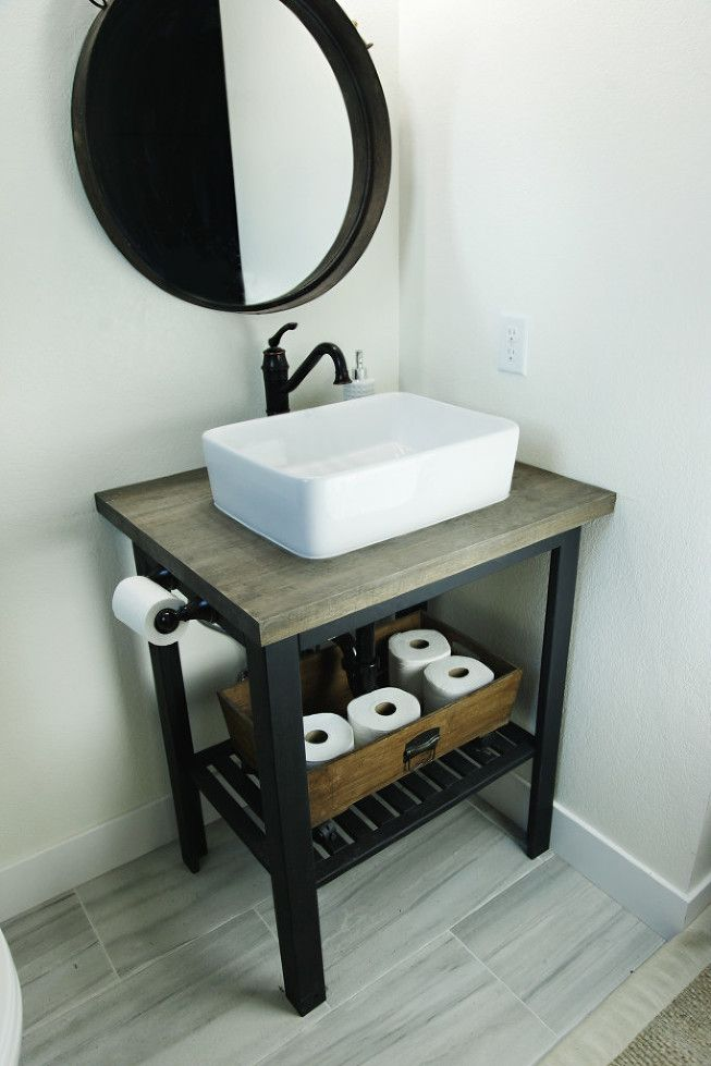 Bathroom Sinks Ikea ikea hack- diy bathroom sink stand. rustic modern sink base. open