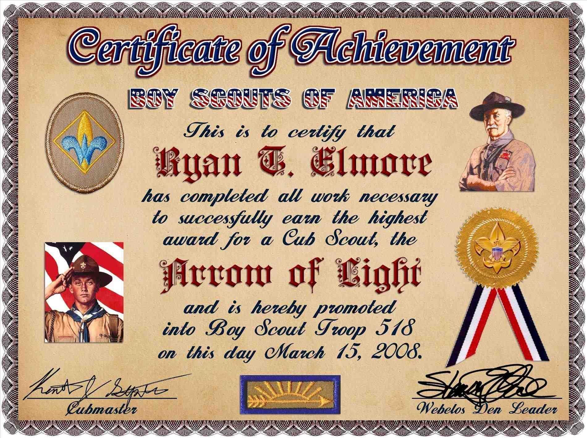 Pin On Cub Cub scout award certificate template
