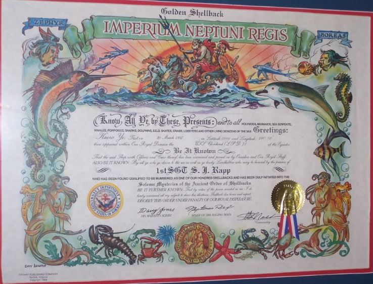 King Neptune certification that the International Date Line or The ...