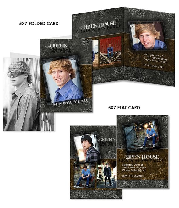 Senior Boy Graduation Card Set For Photoshop Inked 5x7 Flat And Folded Press Printed Card Templa Senior Photography Templates Card Set Graduation Templates