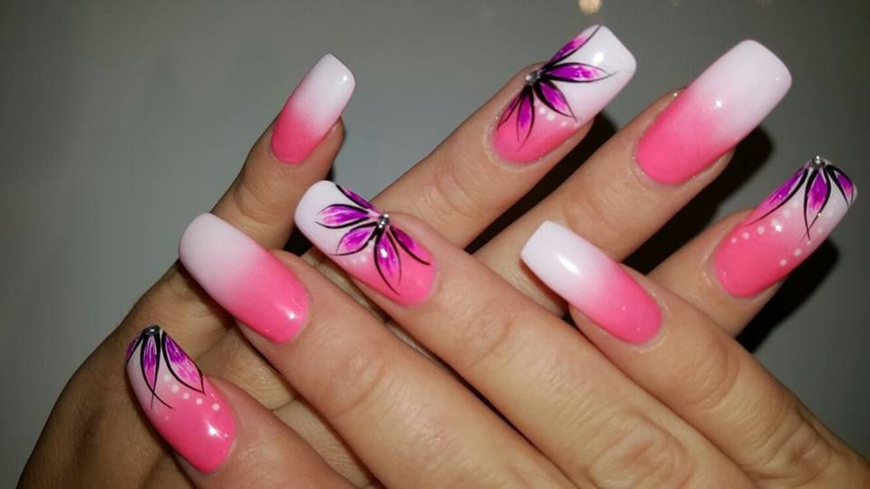 Nails Pink White Airbrush Ombre Flowers