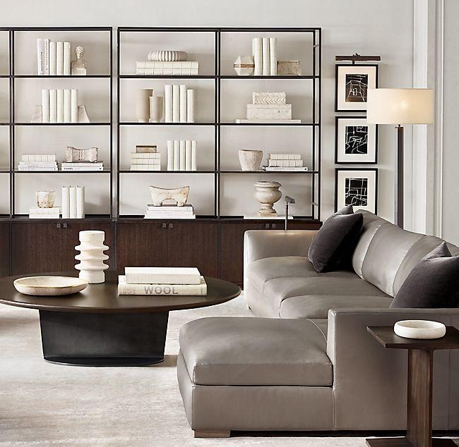RH MODERN LIVING ROOM | Home, Home office design, Column ...