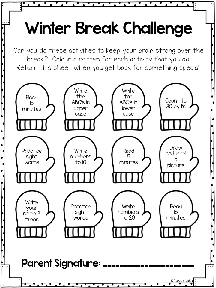 freebie winter break challenge my kinders winter challenges teaching kindergarten. Black Bedroom Furniture Sets. Home Design Ideas