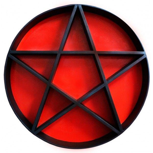 Pentagram Shelf Black Amp Red Woodwork Dark Home Decor