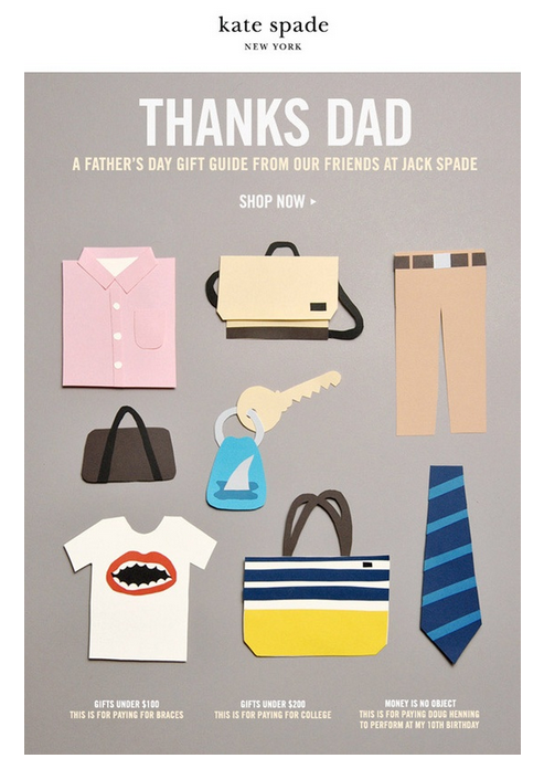 Kate spade fathers day email newsletter design retail for Corporate newsletter design inspiration