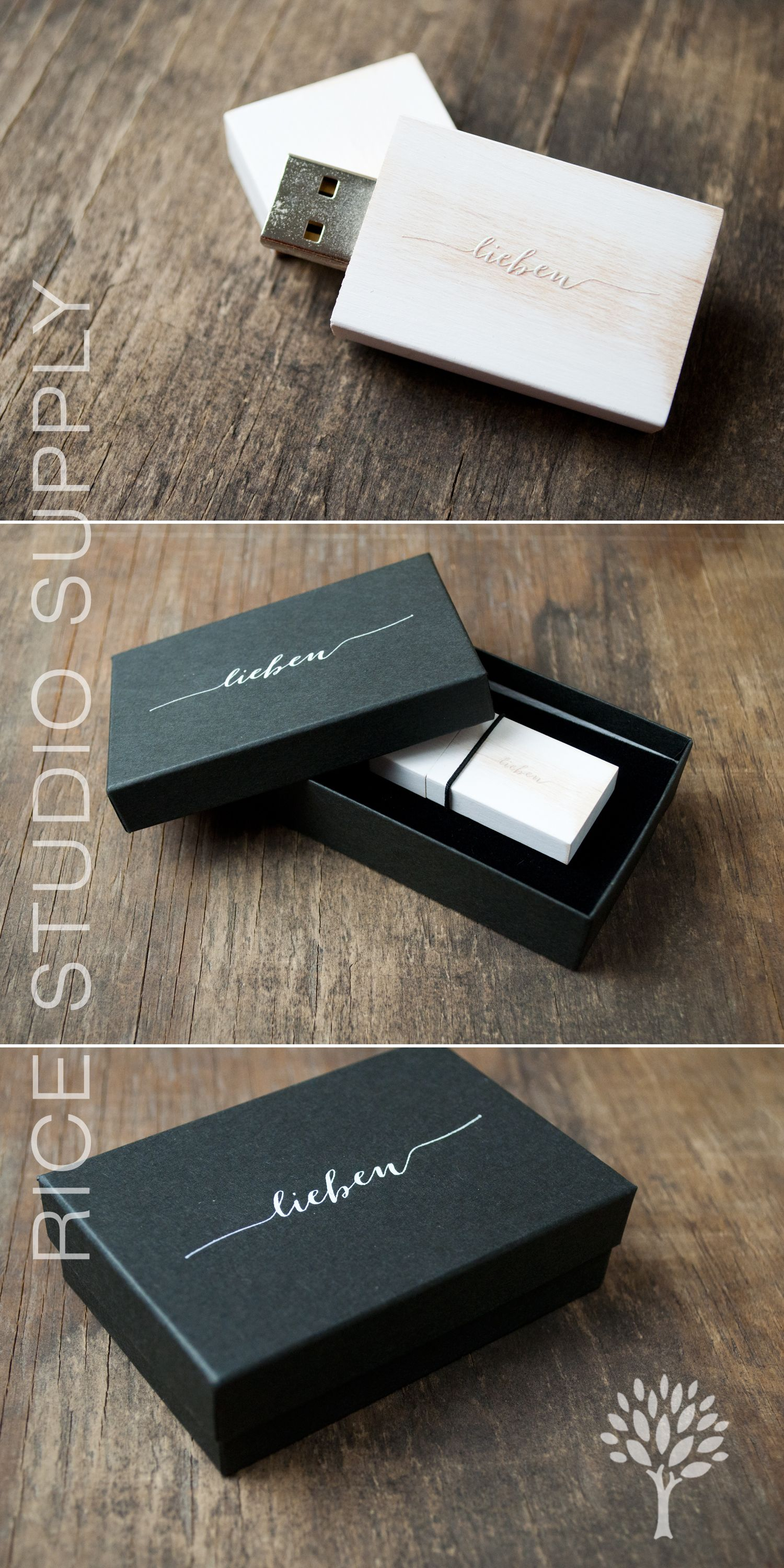 vintage wooden flash drives and black kraft flash drive boxes