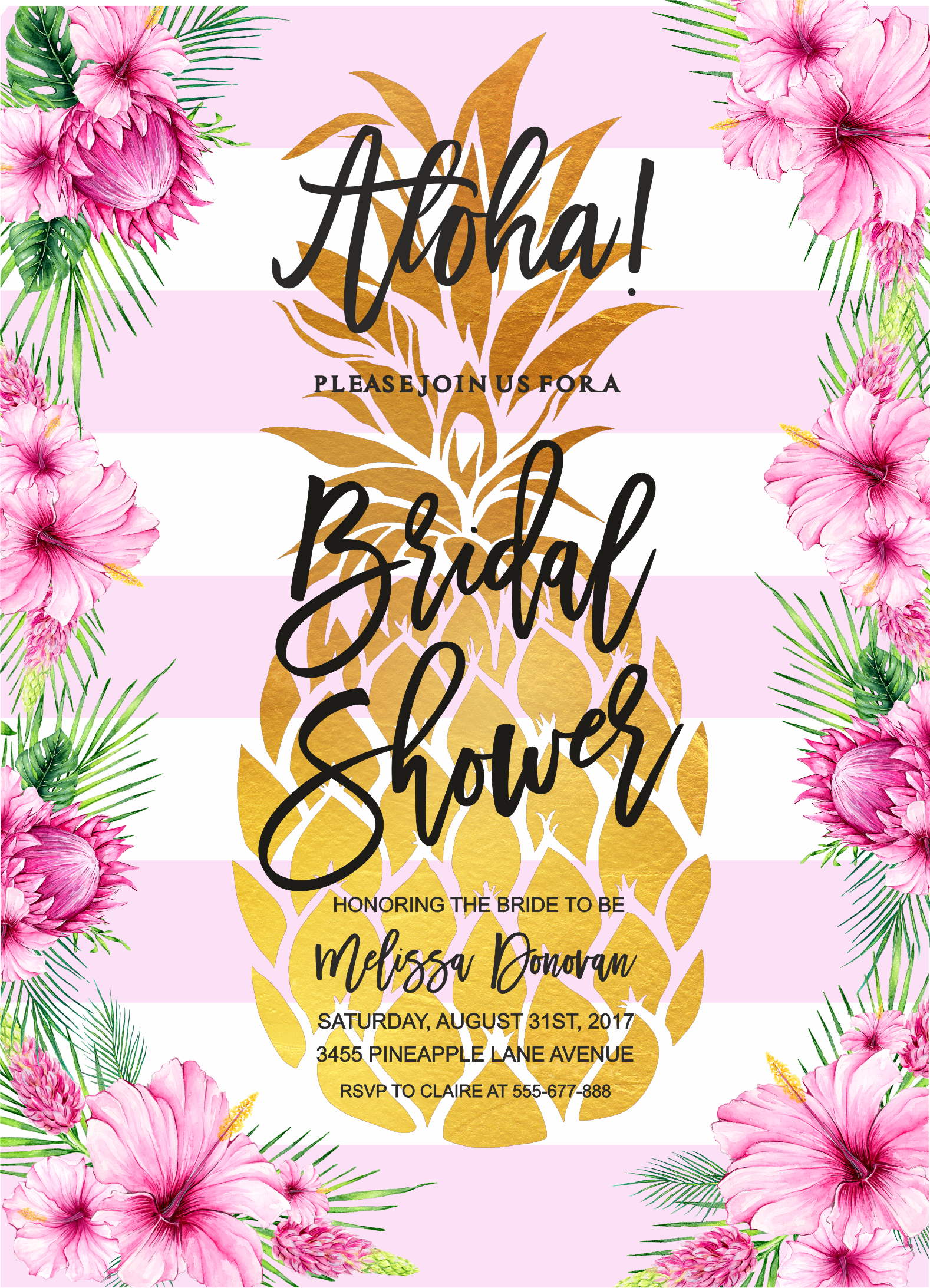pineapple bridal shower invitation tropical bridal shower invitation tropical aloha bridal shower invitation hawaiian invitation by merryelle design