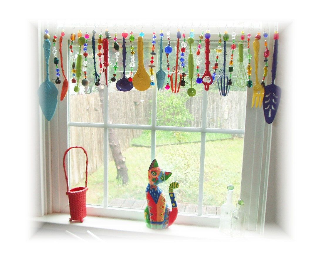 Super Kitchy Colorful Whimsical Kitchen Window Treatment Valance