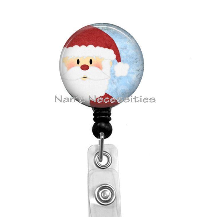 Retractable Badge Holder, Darling Santa, Retractable Badge Reel, Badge ID Holder, Nurse Badge Reel, Teacher Badge Reel by NansNecessities on Etsy