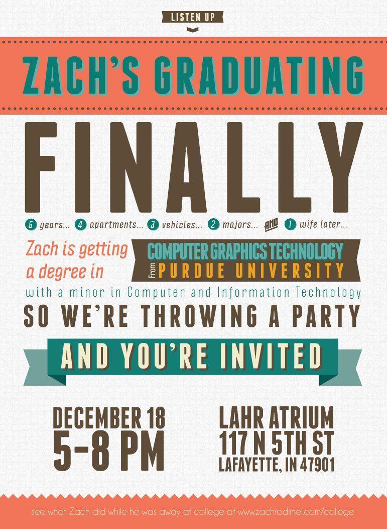 Free Modern Typography High School or College Graduation Invitation ...