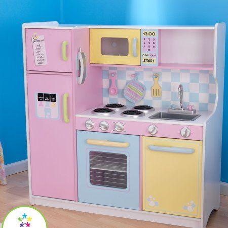 Kidkraft Wooden Large Pastel Kitchen With 4 Piece Accessory Play Set Walmart Com Em 2021 Cozinha De Papelao Cozinhas De Brincadeira Cozinhas Brilhantes