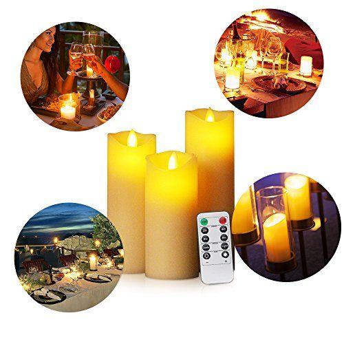 """Ivory Wax and Amber Yellow Flame; 11/"""" Tal Set of 4 Flameless Candles with Timer"""