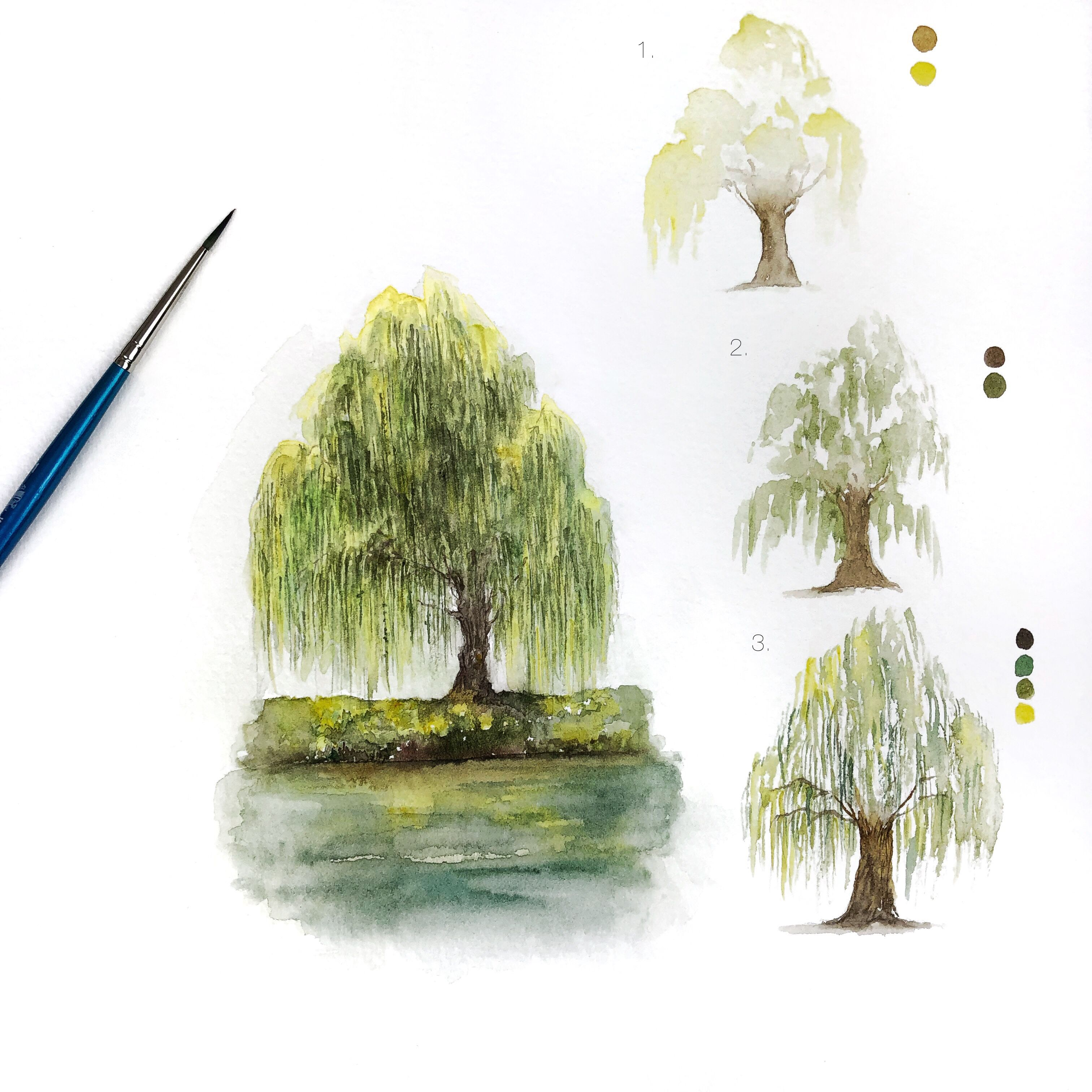 Simple Willow Tree Painting With 3 Steps Art Artist Artwork