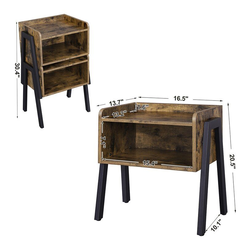 Osiris 4 Legs End Table With Storage Crate End Tables Wooden