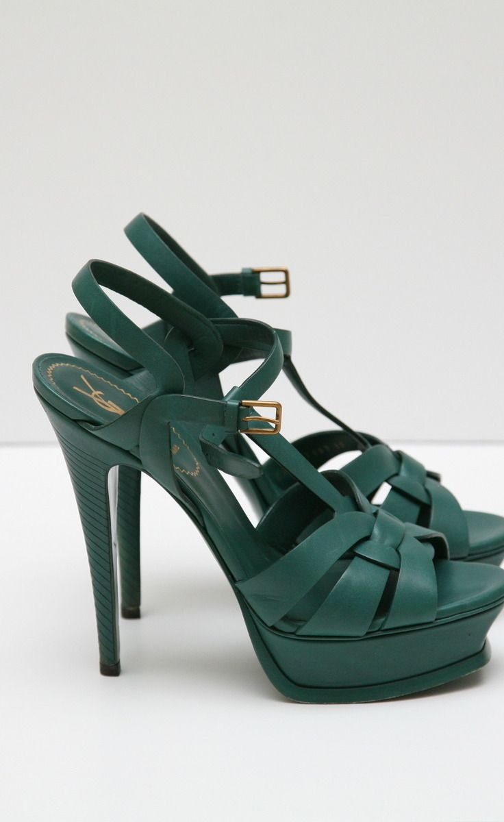 49e4fbe4659 Yves Saint Laurent Green Sandal | The Covered Foot | Shoes, Fashion ...