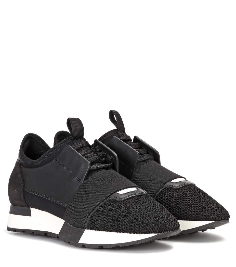 Ladies Black Race Runners Leather And