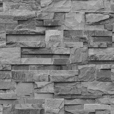Details About Muriva 3d Slate Brick Wallpaper Stone Neutral Textured Grey Beige Brown Slate Wallpaper Slate Effect Wallpaper Brick Effect Wallpaper