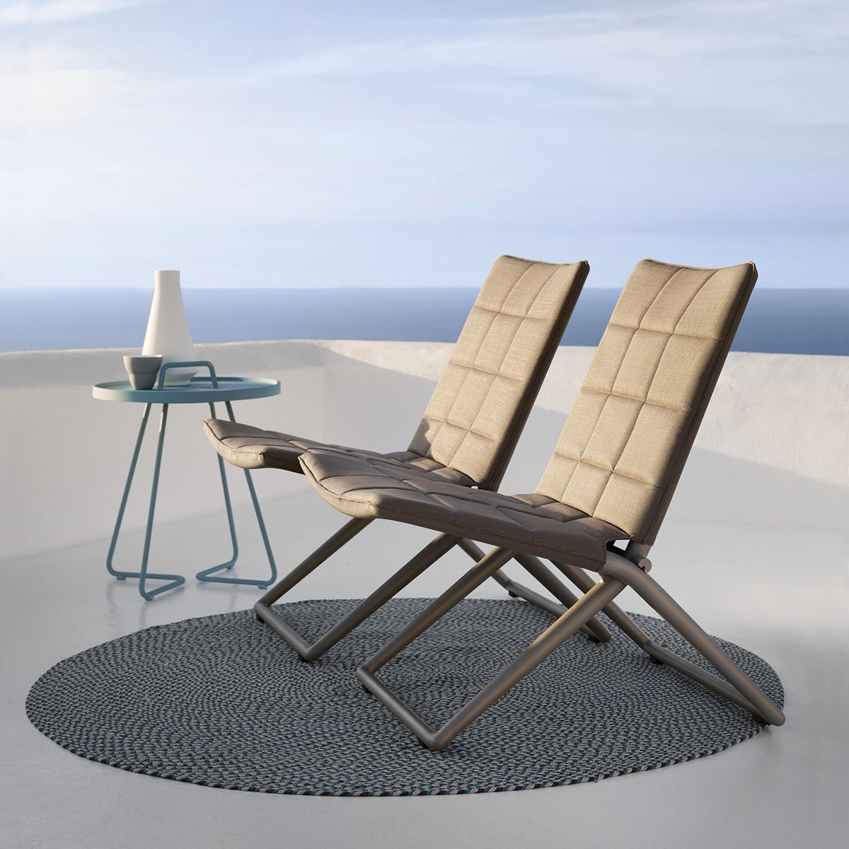 Ibiza Outdoor Folding Chair In Taupe | Thos. Baker