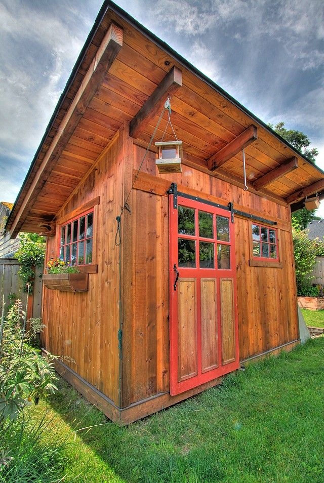 Best The Perfect Garden Shed Sliding Barn Door Windows Cedar Shake Shingles And Of Course Flower 640 x 480