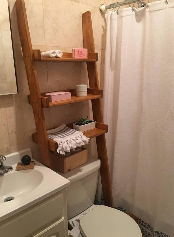 over the toilet leaning ladder shelf made to order decor bathroom space saver bathroom. Black Bedroom Furniture Sets. Home Design Ideas